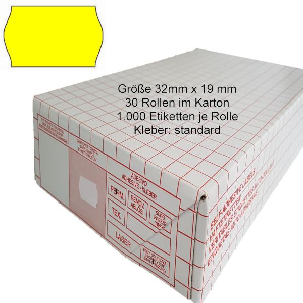 Etiketten 32 x 19 mm, standard, leuchtgelb
