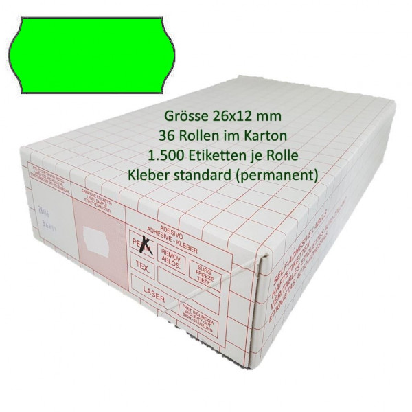 Etiketten 26 x 12 mm, standard, leuchtgrün
