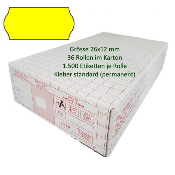 Etiketten 26 x 12 mm, standard, leuchtgelb