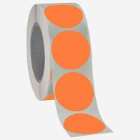 Runde Papieretiketten, 40mm, leuchtorange, permanent