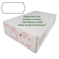 Etiketten 26 x 12 mm, standard, weiss