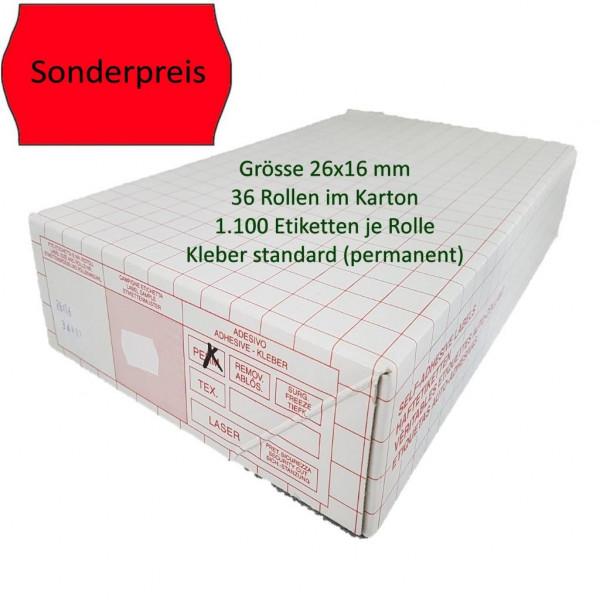 Sonderpreis-Etiketten 26 x 16 mm, standard, leuchtrot