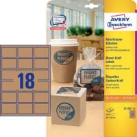 L7106-25 Naturbraune Etiketten, 62 mm x 42 mm, Recycling-Material