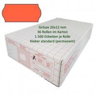 Etiketten 26 x 12 mm, standard, leuchtorange