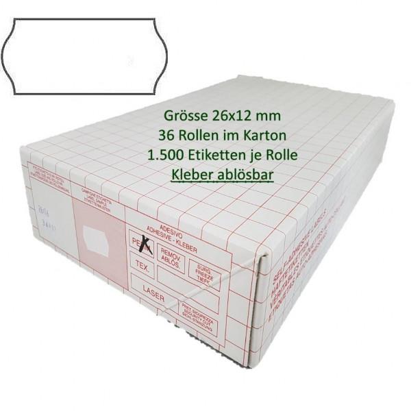Etiketten 26 x 12 mm, ablösbar, weiss