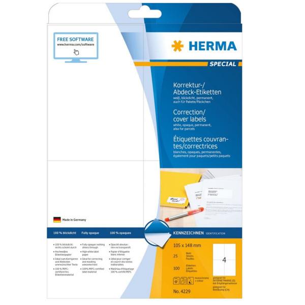 Herma Etiketten, blickdicht, 25 Blatt, Abdecketiketten