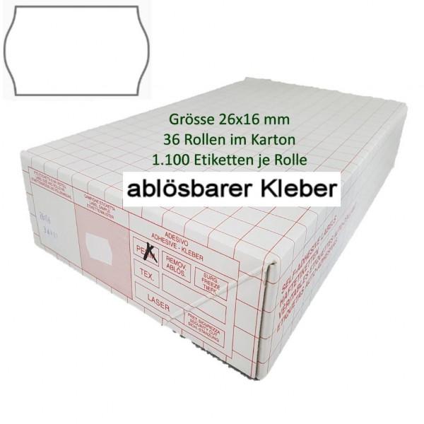 Etiketten 26 x 16 mm, ablösbar, weiss