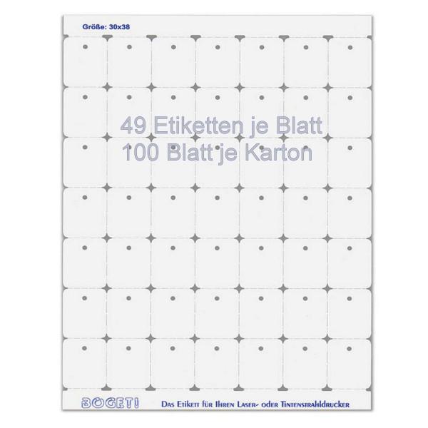 Bogeti Etiketten, 30mmx38mm zum selber bedrucken, DinA4 Karton