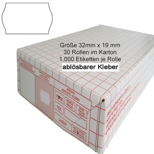 Etiketten 32 x 19 mm, ablösbar, weiss
