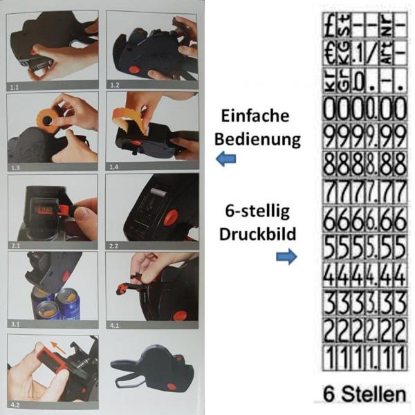 Preisauszeichner PRIX 6-stellig Druckwerk 1-zeilig