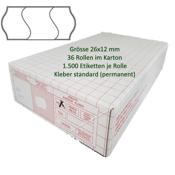 Etiketten 26 x 12 mm, 3-geteilt, weiss