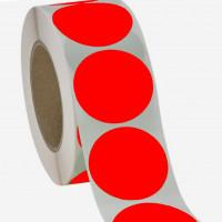 Runde Papieretiketten, 40mm, leuchtrot, permanent
