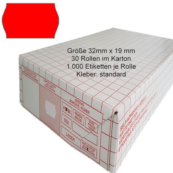 Etiketten 32 x 19 mm, standard, leuchtrot