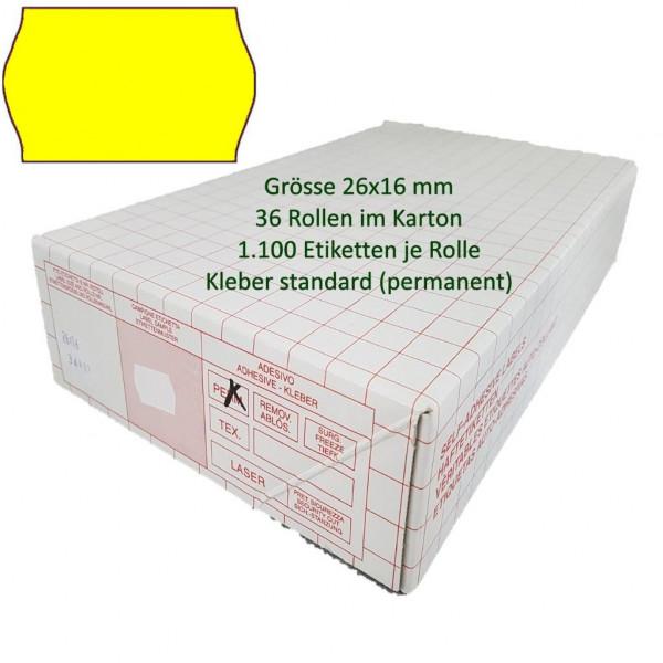 Etiketten 26 x 16 mm, standard, leuchtgelb