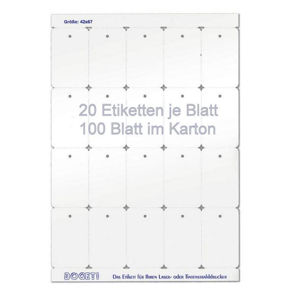 Bogeti Etiketten 42mmx67mm zum selber bedrucken, DinA4 Karton