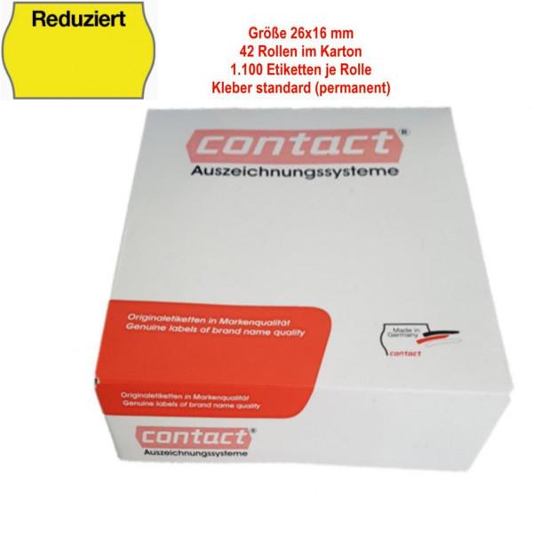 Reduziert-Etiketten 26 x 16 mm, permanent, leuchtgelb, Text oben