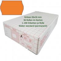 Etiketten 26 x 16 mm, standard, leuchtorange
