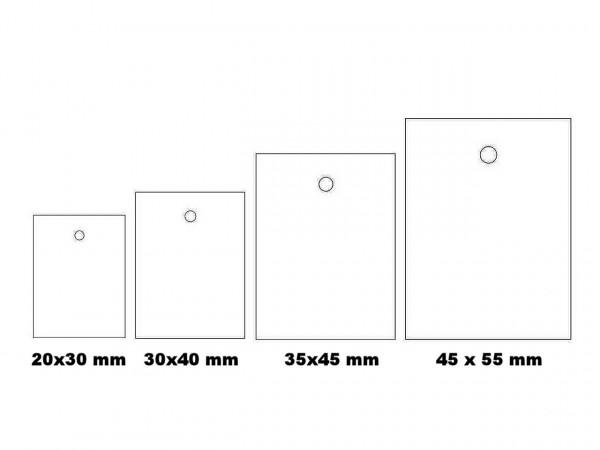 Kartonetiketten mit Lochung, verschiedene Größen