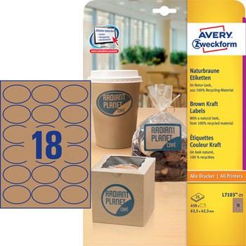 L7103-25-naturbelassene Etiketten, recycling-Material, 63,5x42,3 mm
