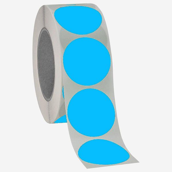 Runde Papieretiketten, 40mm, leuchtblau, permanent