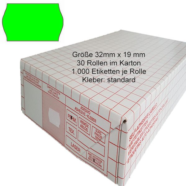 Etiketten 32 x 19 mm, standard, leuchtgrün