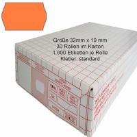 Etiketten 32 x 19 mm, standard, leuchtorange