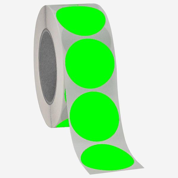 Runde Papieretiketten, 40mm, leuchtgrün, permanent