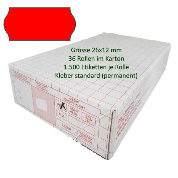 Etiketten 26 x 12 mm, standard, leuchtrot