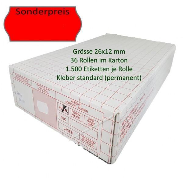 Sonderpreis-Etiketten 26 x 12 mm, standard, leuchtrot