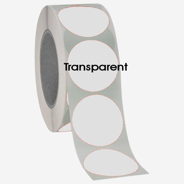 Runde Verschlussetiketten, 40mm, transparent, permanent