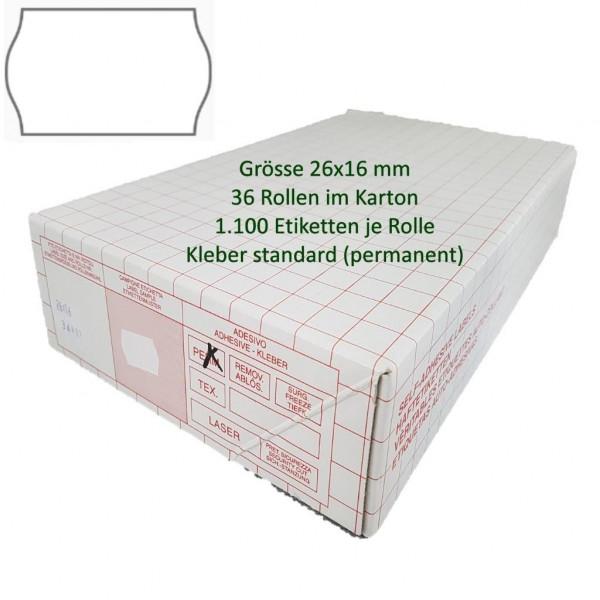 Etiketten 26 x 16 mm, standard, weiss