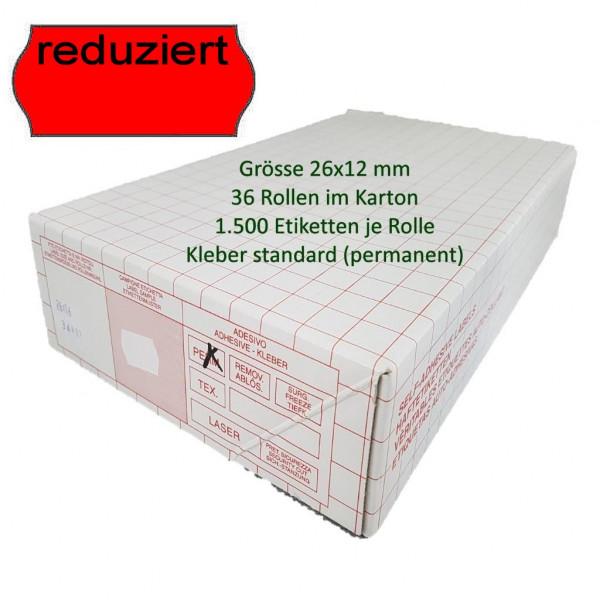 Reduziert-Etiketten 26 x 12 mm, standard, leuchtrot