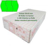 Etiketten 26 x 16 mm, 3-geteilt, leuchtgrün