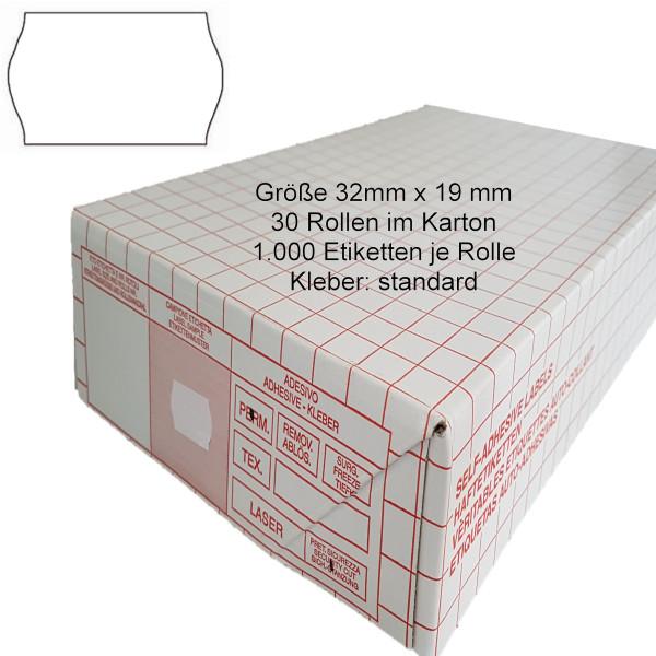 Etiketten 32 x 19 mm, standard, weiss