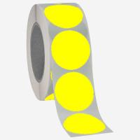 Runde Papieretiketten, 40mm, leuchtgelb, permanent
